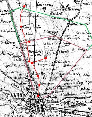 Il percorso del presunto tunnel si dipana tra il Castello di Pavia e la Certosa