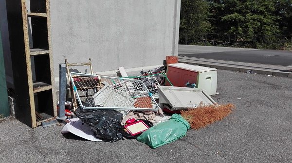 Condominio il Boschetto Discarica improvvisata vicino al luogo di conferimento rifiuti